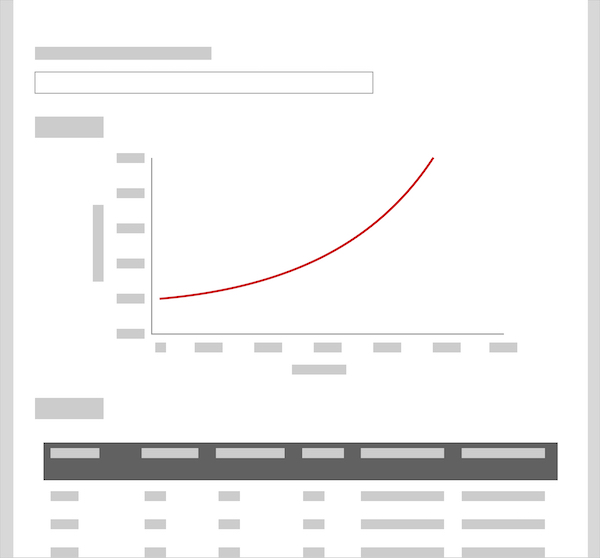 Mock-up of the interactive page design, showing a search bar, graph and table