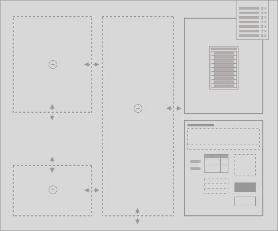 Diagram showing spaces on a screen to indicate areas for users to customise their screen