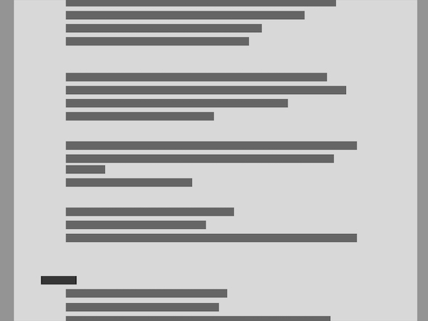 Image of obfuscated text, showing grouping of questions on a page