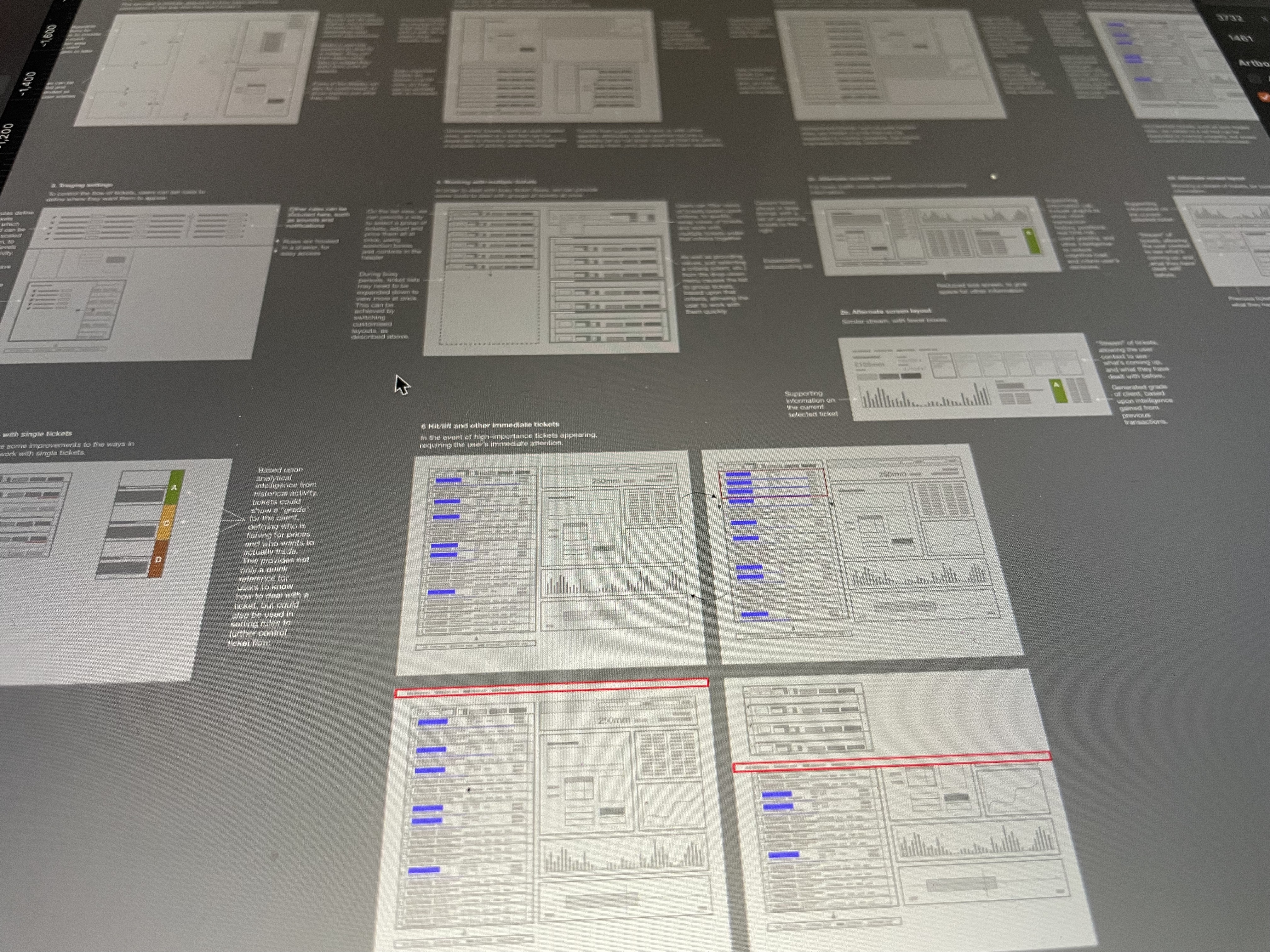 Conceptual layout ideas on a computer screen